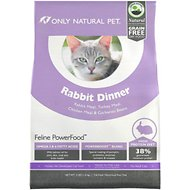 Only Natural Pet Feline PowerFood Rabbit Dinner Grain-Free Dry Cat Food, 3-lb bag