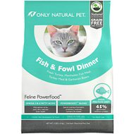 Only Natural Pet Feline PowerFood Fish & Fowl Dinner Grain-Free Dry Cat Food, 3-lb bag