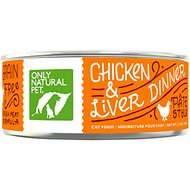 Only Natural Pet PowerPate Chicken & Liver Dinner Grain-Free Canned Cat Food, 5.3-oz, case of 24