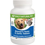 Only Natural Pet Brewer's Yeast & Garlic Skin & Coat Chewable Tablets Dog & Cat Supplement, 300 count