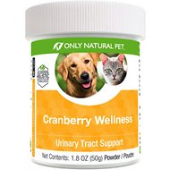 Only Natural Pet Cranberry Wellness Urinary Tract Support Powder Dog & Cat Supplement, 1.8-oz bottle