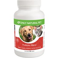 Only Natural Pet Probiotic Blend Healthy Intestinal Tract Capsules Dog & Cat Supplement, 90 count