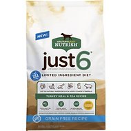 Rachael Ray Nutrish Just 6 Natural Grain-Free Turkey Meal & Pea Limited Ingredient Diet Dry Dog Food, 24-lb bag