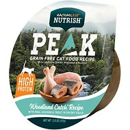 Rachael Ray Nutrish Peak Natural Grain-Free Woodland Catch Recipe with Real Chicken & Trout in Savory Sauce Wet Cat Food, 2-oz, case of 24