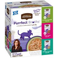 Rachael Ray Nutrish Purrfect Broths All Natural Grain-Free Variety Pack Cat Food Topper, case of 12
