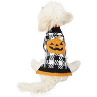 SimplyWag Pumpkin Houndstooth Dog & Cat Sweater, X-Small