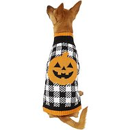 Pup Crew Pumpkin Houndstooth Dog & Cat Sweater, Medium