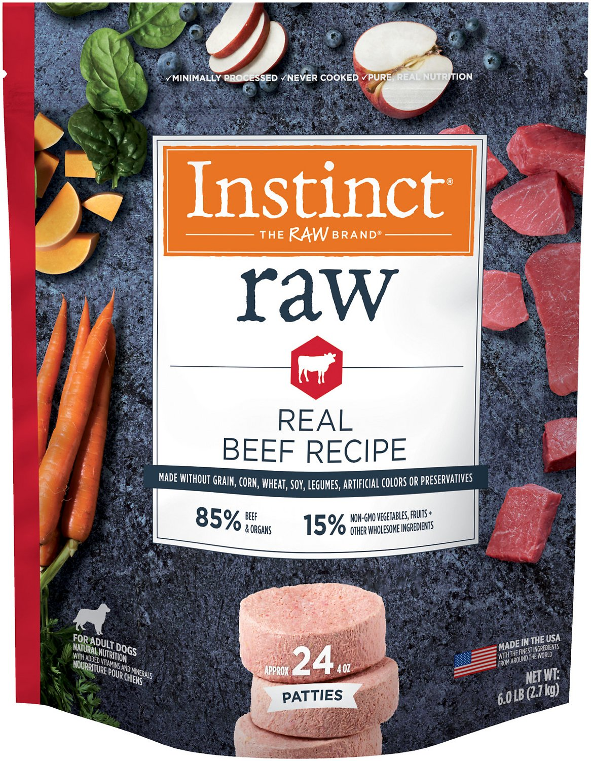 Instinct By Nature S Variety Frozen Raw Patties Grain Free Real Beef Recipe Dog Food 6 Lb Bag