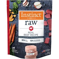 Instinct by Nature's Variety Frozen Raw Patties Grain-Free Real Beef Recipe Dog Food, 6-lb bag