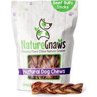 "Nature Gnaws Braided Bully Sticks 5 - 6"" Dog Treats, 10 count"