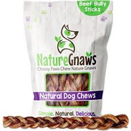 "Nature Gnaws Braided Bully Sticks 11 - 12"" Dog Treats, 5 count"