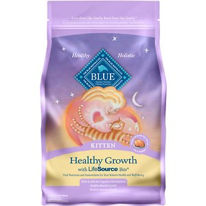 Blue Buffalo Healthy Growth Kitten Chicken & Brown Rice Recipe Dry Cat Food, 2-lb bag; Give your kitten some kibble to help her grow up healthy. Blue Buffalo's Healthy Growth Kitten Chicken & Brown Rice Recipe Dry Cat Food is made from some of the finest natural ingredients and enhanced with vitamins and minerals. This delectable kitten food has real chicken as the very first ingredient and includes nutritious grains, veggies and fruit. It also includes BLUE's exclusive LifeSource Bits—a combination of selected antioxidants, minerals and vitamins picked by veterinarians and animal nutritionists to support your kitten's overall health and wellness. Now your paw-tner really has something to purr about!