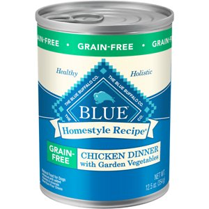 Blue Buffalo Homestyle Recipe Chicken Dinner with Garden Vegetables Grain-Free Canned Dog Food, 12.5-oz, case of 12; Feed your pal the finest natural ingredients featured in Blue Buffalo Homestyle Recipe Chicken Dinner with Garden Vegetables Grain-Free Canned Dog Food. Made with delicious chicken and chicken liver as the first ingredients, this grain-free recipe is formulated to help support your pal's healthy organs and lean muscle mass. It also has sweet potatoes for an excellent source of fiber and a naturally gluten-free option that's easy to digest. It includes chicken broth for added moisture and protein. This homestyle recipe includes garden vegetables and fruits, such as carrots, peas, blueberries and cranberries, plus essential vitamins and mineral for your pal's overall health and well-being. It's made without wheat as a thickening agent and doesn't contain chicken or any poultry by-product meals, artificial colors, flavors or preservatives, so you can feel good about serving this as your go-to meal.