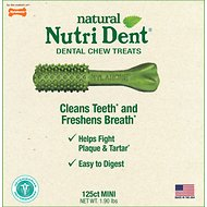 Nylabone Nutri Dent Natural Fresh Breath Dental Dog Chews, Mini Breeds, 125 count