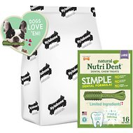 Nylabone Nutri Dent Natural Fresh Breath Dental Dog Chews, Large Breeds, 16 count