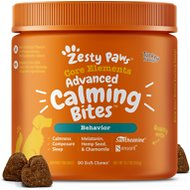 Zesty Paws Stress & Anxiety Calming Bites with Suntheanine & Melatonin Turkey Flavor Soft Chews Dog Supplement, 90 count