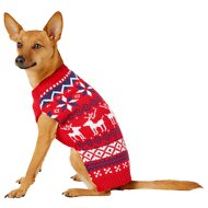 Frisco Dog & Cat Reindeer Fair Isle Sweater, Small