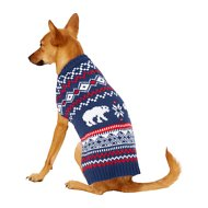 Frisco Dog & Cat Fair Isle Sweater, Dark Blue, Small