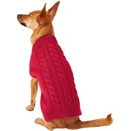 Frisco Dog & Cat Cable Knitted Sweater, Red, Small