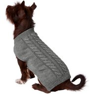 Frisco Dog & Cat Cable Knitted Sweater, Gray, Medium