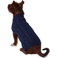 Frisco Dog & Cat Cable Knitted Sweater, Navy, Medium
