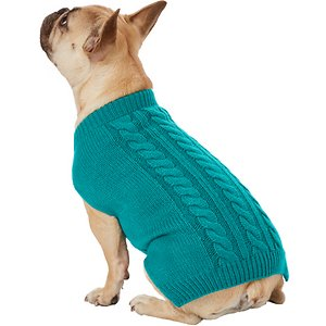 Frisco Dog & Cat Cable Knitted Sweater, Teal, Medium; **Remember to measure your pet for the paw-fect fit.** Now your pal can stay comfy while looking dapper with the Frisco Dog & Cat Cable Knitted Sweater. This high-quality knit sweater is ultra-soft and warm so it's perfect for chillier nights, and is easy to put on thanks to the pullover design. Dress up your pooch or kitty in this classic fashion staple whenever you're going out or enjoying a cozy night in. Go ahead—cuddle up! This sweater feels luxuriously soft to the touch and looks just as stylish. It's available in different sizes and colors so you can make sure you can find the best fit for your pet.