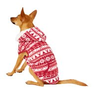 Frisco Dog & Cat Fair Isle Fleece Lined Hoodie, Red, Small