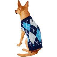 Frisco Dog & Cat Argyle Sweater, Blue, Small