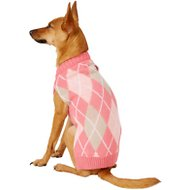 Frisco Dog & Cat Argyle Sweater, Pink, Small
