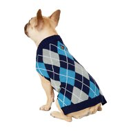 Frisco Dog & Cat Argyle Sweater, Blue, Medium