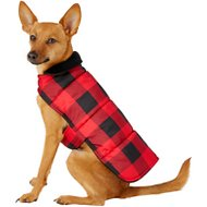 Frisco Reversible Dog & Cat Plaid Puffer Coat, Red, Small