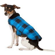 Frisco Reversible Dog & Cat Plaid Puffer Coat, Blue, Small