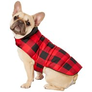 Frisco Reversible Dog & Cat Plaid Puffer Coat, Red, Medium