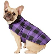 Frisco Reversible Dog & Cat Plaid Puffer Coat, Purple, Medium