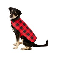 Frisco Reversible Dog & Cat Plaid Puffer Coat, Red, Large