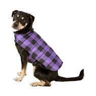 Frisco Reversible Dog & Cat Plaid Puffer Coat, Purple, Large