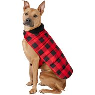 Frisco Reversible Dog & Cat Plaid Puffer Coat, Red, X-Large