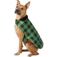 Frisco Reversible Dog & Cat Plaid Puffer Coat, Green, X-Large