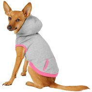 Frisco Dog & Cat Hoodie With Trim, Heather Gray/Pink, Small