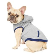 Frisco Dog & Cat Hoodie With Trim, Heather Gray/Navy, Medium