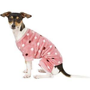 Frisco Dog & Cat Cozy Polka Dot Fleece PJs, Pink Polka Dot, Small; **Remember to measure your pet for the paw-fect fit.** Chilly nights have met their match with these cozy fleece pajamas! Made with 100% polyester fleece, they help keep your pal warm and comfy—not to mention cute. They're soft and comfortable to wear around the house for all those naps and z's, with an adorable design you'll want to show off at your next slumber party. These PJs are made with a high-quality design, including sleeves with ribbing, and an easy-to-put-on style with elastic at the belly and back legs so it fits just right. Plus, they help keep some dander from bedding and furniture.