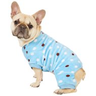 Frisco Dog & Cat Cozy Polka Dot Fleece PJs, Blue Polka Dot, Medium