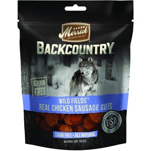 Merrick Backcountry Wild Fields Real Chicken Sausage Cuts Grain-Free Dog Treats, 13.5-oz bag; Merrick Backcountry Wild Fields Real Chicken Sausage Cuts Dog Treats feature a hearty, wood-smoked taste your four-legged friend will go wild for. These treats are grain-free with no gluten ingredients and start with real deboned chicken as the first ingredient. Specially formulated to mimic the ancestral canine diet, these savory, all-natural morsels are packed with the meaty protein your canine companion craves. And like all Merrick recipes, these treats are cooked right here in the USA!