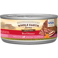 Whole Earth Farms Grain-Free Small Breed Recipe Beef Dinner Canned Dog Food, 3-oz, case of 24