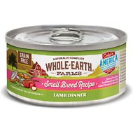 Whole Earth Farms Grain-Free Small Breed Recipe Lamb Dinner Canned Dog Food, 3-oz, case of 24