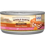 Whole Earth Farms Grain-Free Small Breed Recipe Turkey Dinner Canned Dog Food, 3-oz, case of 24