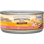 Whole Earth Farms Grain-Free Small Breed Recipe Chicken Dinner Canned Dog Food, 3-oz, case of 24