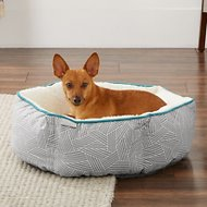 Frisco Sherpa Cuddler Hexagon Dog Bed, Gray Basket Weave Print