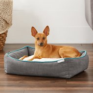 Frisco Orthopedic Sherpa Cuddler & Cushion Dog & Cat Bed, Gray Basket Weave Print, Small/Medium