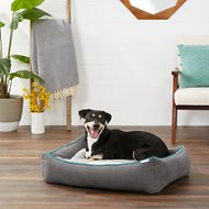 Frisco Orthopedic  Sherpa Cuddler & Cushion Dog & Cat Bed, Gray Basket Weave Print, Large